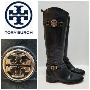 Tory Burch Calista Black Leather Riding Boots